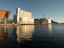 Kristiansand, Norway - November 6, 2017: The exterior of the Kunstsilo, that will become the new art museum in. The exterior of the old silo at Silokaia Royalty Free Stock Image