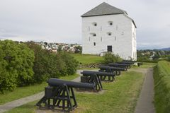 Kristiansten Fortress donjon and cannons exterior in Trondheim, Norway. Royalty Free Stock Photography