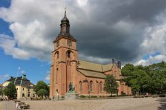 Kristine church in Falun. Kristine Church is located east of the Main Square in Falun. It is built of brick and became operational in 1655 Stock Photo
