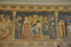 Kristna frescoes, Pomposa abbotskloster, Italien arkivbild
