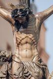 Kristus av brödraskapet av Hiniesta, påsk i Seville Arkivfoton