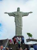 Kristus Förlossarestatyn i Rio de Janeiro Arkivbilder