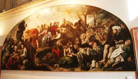 Kristus i en målning i museet Palazzo Te i Mantova, Italien Arkivfoton