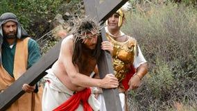 Kristus som bär den arga vägen till Calvary 2 arkivfilmer
