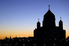 KristusFörlossaredomkyrka i Moskva silhouette Arkivfoto