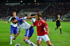 Krisztian Vadocz. Hungarian international Krisztian Vadocz attacks the Finnish side at Hungary - Finland European Cup qualifier football match at October 11 stock images