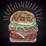 Krita dragen kulör illustration av hamburgaren Royaltyfri Bild
