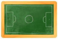 Krita för fotbollfält på svart tavla Arkivbild