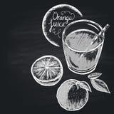 Krita målade illustrationen av fullt exponeringsglas med orange fruktsaft sund näring Royaltyfri Fotografi