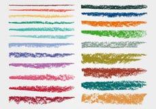 Krita och kol En uppsättning av färgvektorpenseldrag Grunge textur En hög upplösning royaltyfri illustrationer
