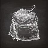 Krita skissar av påse av mjöl stock illustrationer