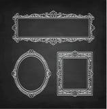 Krita skissar av tappningramar royaltyfri illustrationer