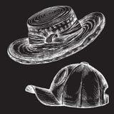 Kritahandteckning Beståndsdel för ettstil klotter på en svart brädebakgrund Uppsättningen av sommarhattar och cap en kvinna` s vektor illustrationer