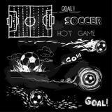 Kritaillustration av fotbollbollen och beståndsdelar Royaltyfri Foto