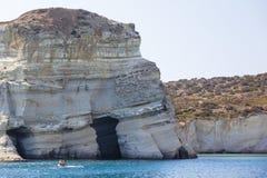 Kritaklippa på lilla viken Kleftiko på Milos Arkivfoton