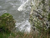 Kritaklippor med vågor som bryter mot grunden Royaltyfria Foton