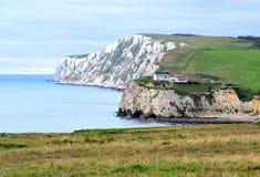 Kritaklippor, sötvattens- fjärd, ö av wighten, England Arkivfoto