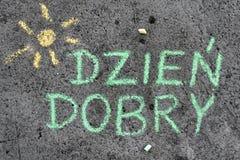 Kritateckning: BRA MORGON för polska ord arkivbild