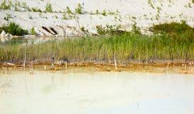 Kritiek milieugebied met gevaarlijk alkalisch meer stock fotografie