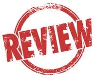 Kritik för värdering för utvärdering för produkt för cirkel för granskningstämpelord Fotografering för Bildbyråer