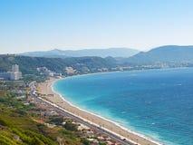 Kritika coast of Rhodes island stock image