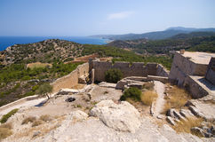 Kritinia castle on Rhodes island, Greece Stock Photography