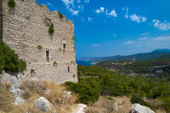 Kritinia Castle on the west of Rhodes Island Stock Photos