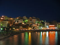 Kritiplatia. Agios nikolaos, Greece, by night time Royalty Free Stock Image