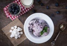 Kritiserar hemlagad glass för blåbäret med mintkaramellsidor och skeden för glass på stenen bakgrund Arkivbilder