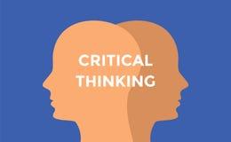 Kritisk tänkande begreppsillustration med den head konturn och text över den Arkivfoton