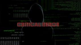 Kritiskt fel, mislyckat försök att hacka serveren, besviken brottsling arkivfilmer