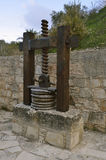Kritou Terra Olive Press. Old Olive Press with wooden screw and baskets Royalty Free Stock Images