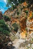 Kritsa wąwóz blisko Agios Nikolaos na Crete Obrazy Royalty Free