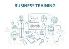 Kritzeln Sie ArtKonzept des Entwurfes des Geschäftstrainings und -lernens Stockfotos