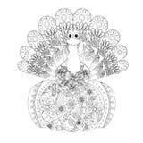 Kritzeln Sie Artskizze des Truthahns auf Kürbis, dünne schwarze Linie auf Weiß Stockbild