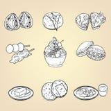 Kritzeln Sie Bleistift-Zeichnung des japanischen traditionellen Küchenachtischs FO Stockfotos