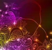 Kritzeln Sie Blumenhintergrund der hellen Farbe mit Vögeln Lizenzfreies Stockfoto