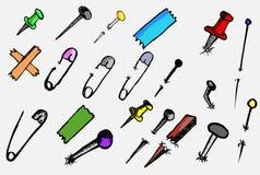 Kritzeln Sie Breastpin, Stoßstift, Nagel und Nadel stock abbildung