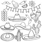 Kritzeln Sie die Mexiko-Symbolsammlung, die in Schwarzweiss für lokalisiert wird stock abbildung