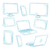 Kritzeln Sie digitale Geräte, Tablette, PC, Laptop, Handylinie Vektorikonen Stockfotos