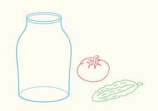 Kritzeln Sie Glas, Gurke und Tomate Stockfotos
