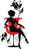 Kritzeln Sie grafisches Schattenbild einer Frau Lizenzfreies Stockfoto