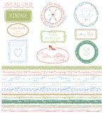 Kritzeln Sie Hand gezeichnete nahtlose Linie Grenze mit Logo lizenzfreie abbildung