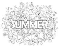 Kritzeln Sie Hand gezeichnete Vektorillustration, Hintergrund, Beschaffenheit, Muster, Tapete, Hintergrund Sommerferien, Reise Stockbilder