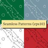 Kritzeln Sie Hand gezeichneten nahtlosen Musterhintergrund mit Pfeilen und Linien stock abbildung
