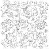 Kritzeln Sie Hand gezeichneten Vektorzusammenfassungshintergrund, Beschaffenheit, Muster, Tapete, Hintergrund Sammlung des Schönh Stockbild