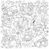 Kritzeln Sie Hand gezeichneten Vektorzusammenfassungshintergrund, Beschaffenheit, Muster, Tapete, Hintergrund Sammlung Sommerelem Stockfoto