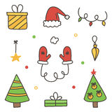 Kritzeln Sie, Hand gezeichneter bunter Winterweihnachtssatz, die lokalisierte Sammlung Stockbild