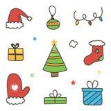 Kritzeln Sie, Hand gezeichneter bunter Winterweihnachtssatz, die Sammlung, die auf weißem Hintergrund lokalisiert wird Stockfotografie