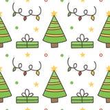 Kritzeln Sie, Hand gezeichneter nahtloser Musterhintergrund des Winters mit Weihnachtsbäumen und Geschenkboxen Lizenzfreies Stockbild
